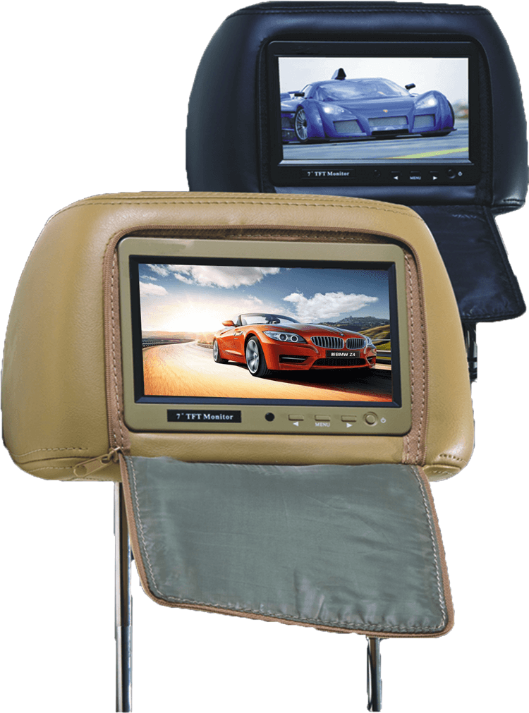 7 inch headrest monitor with pillow bag LED backlight cover zipper 12 -
